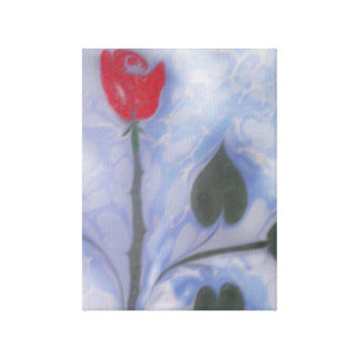 Art of Marbling red rose   Wrapped Canvas