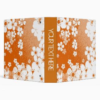 Art orange and white floral pattern vinyl binder
