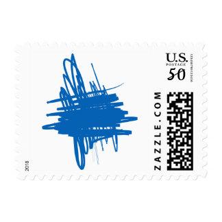 Art Paint Blue Scribble Design Lines Stamp