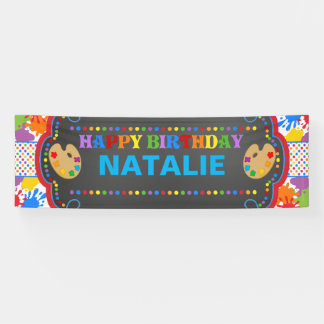 Art Paint Happy Birthday Personalized Banner