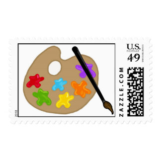Art paint palette postage stamps