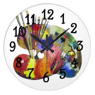Art paint Pallet design Bar Kitchen Wall Clock