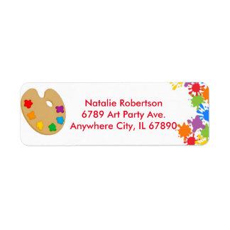 Art Paint Splash Birthday Party Address Labels