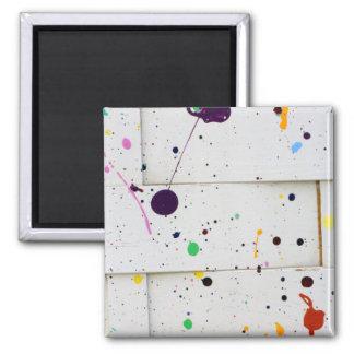 Art Paint Splatter Dots Colorful Woven Wood Fence Magnet
