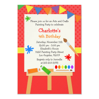 "Art Painting Birthday Party Invitation 5"" X 7"" Invitation Card"