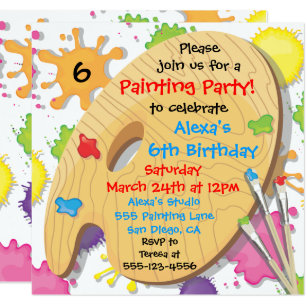 Art party invitations zazzle art painting birthday party invitations stopboris Choice Image