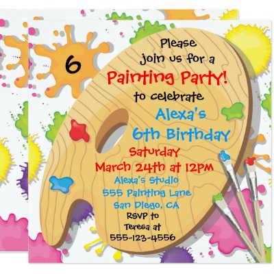 Art Crafts Painting Birthday Party Invitations Zazzle Com