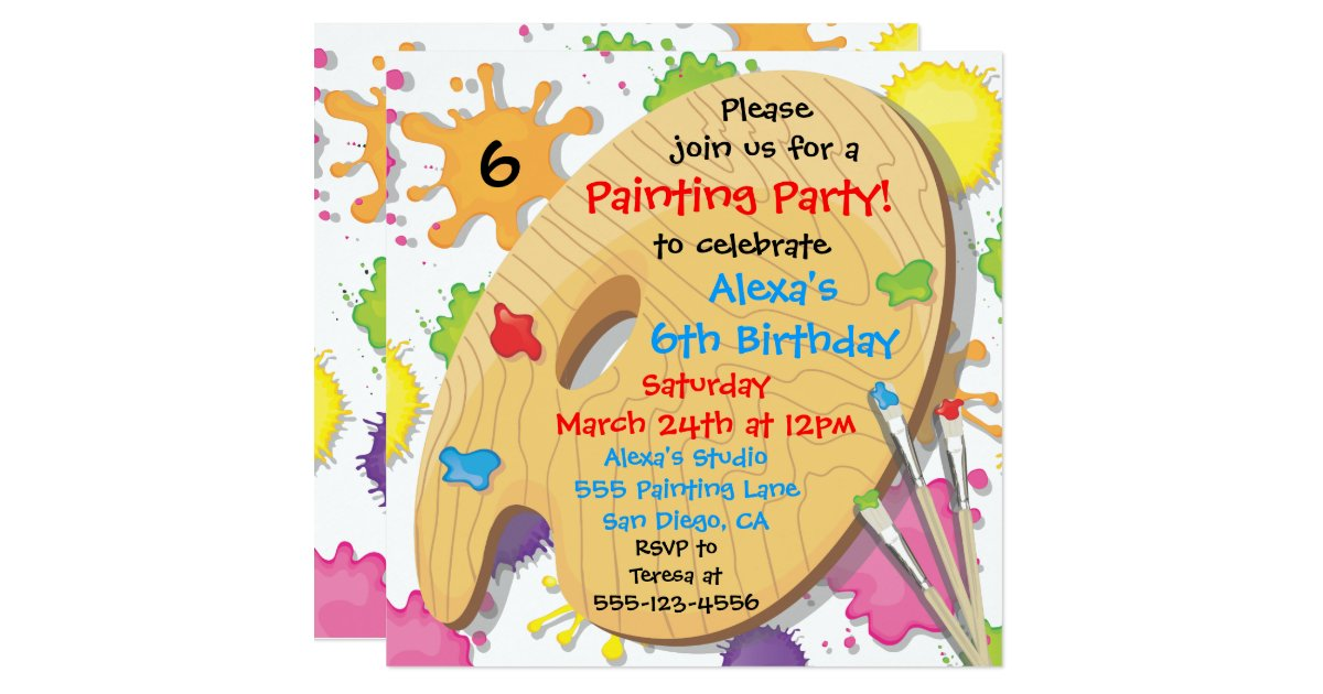 Art Painting Birthday Party Invitations – Painting Birthday Invitations