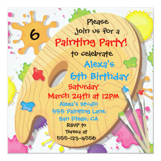 Art Painting Birthday Party Invitations