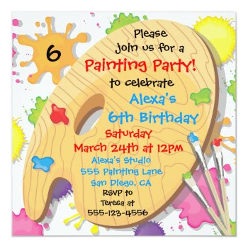 Art Painting Birthday Party Invitations by McBooboo at Zazzle