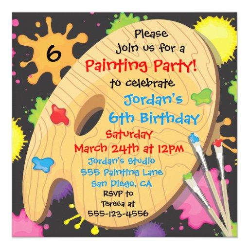 Art Painting Birthday Party Invitations on Black