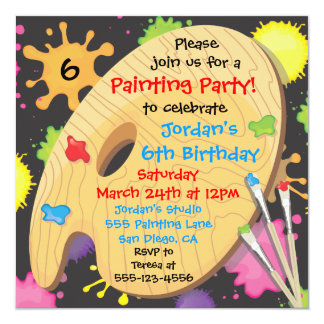 Art Painting Birthday Party Invitations on Black
