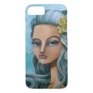 Art painting Blue hair big eyed girl iPhone 7 Case