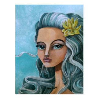 Art painting girl dface lowbrow big eyes postcard