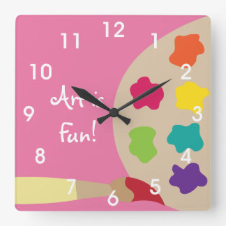 Art Painting Palette Wall Clock - Pink