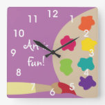 Art Painting Palette Wall Clock - Purple