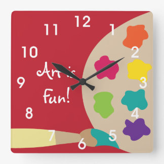 Art Painting Palette Wall Clock - Red