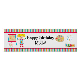 Art Painting Party Birthday Banner 40x12 Poster