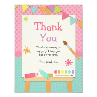 """Art Painting Party Thank You Card 4.25"""" X 5.5"""" Invitation Card"""