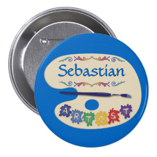 Art Palette Name Badge Pinback Button