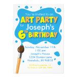 Art Party 6th Birthday Invitation Boy