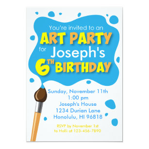 6 year old birthday invitations zazzle art party 6th birthday invitation boy stopboris Image collections