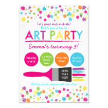 Art Party Birthday Invitations Rainbow Art Party