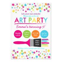 Art Party Birthday Invitations Rainbow Art Party