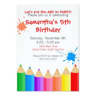 "Art Party Invitation 5"" X 7"" Invitation Card"