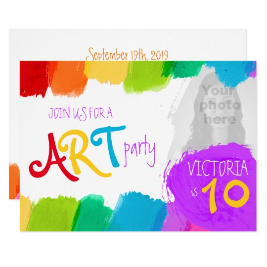 Art Party Painting 10th Birthday Invite