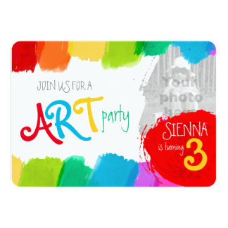 Art party painting 3th birthday party invite