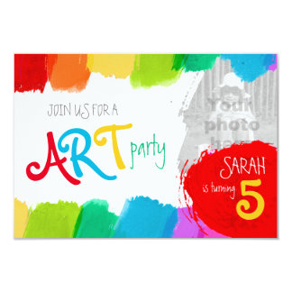 Art party painting 5th birthday party invite