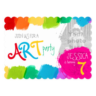 Art party painting 7th birthday party invite
