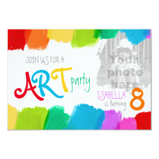 "Art party painting birthday party invite 3.5"" x 5"" invitation card"