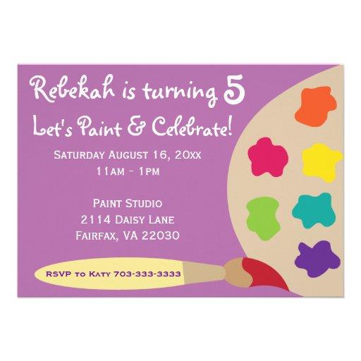 Art Party Palette Invites - Purple