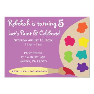 "Art Party Palette Invites - Purple 5"" X 7"" Invitation Card"
