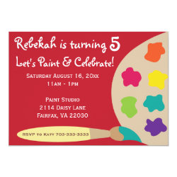 Art Party Palette Invites - Red
