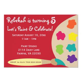 "Art Party Palette Invites - Red 5"" X 7"" Invitation Card"
