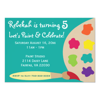 """Art Party Palette Invites - Teal 5"""" X 7"""" Invitation Card"""