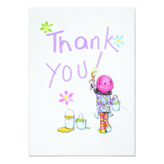 Art Party thank you note 5x7 Paper Invitation Card