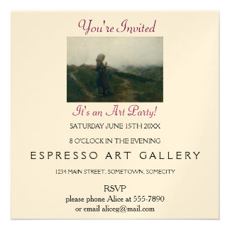 Art Party. Young Girl Knitting in Scenic Landscape Custom Invites
