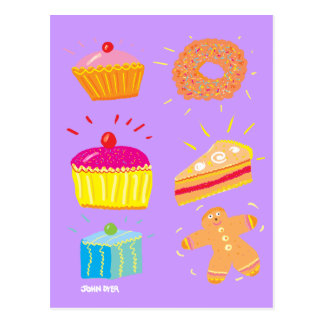 Art Postcard: Cakes, Fancies and Gingerbread Man Postcard