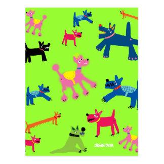 Art Postcard: Crazy Dogs Postcard