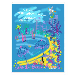 Art Postcard Larvotto Beach Monaco Summer Drawing