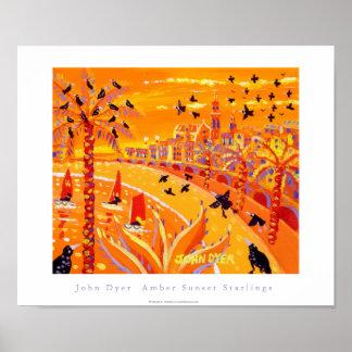 Art Poster: Amber Sunset Starlings, Menton Poster