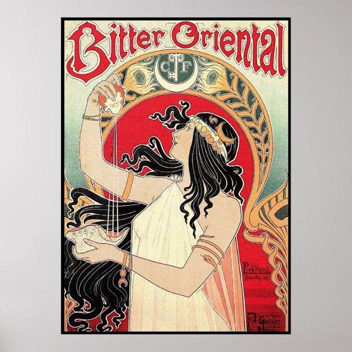 SOUS PLAT EN CERAMIQUE DE STYLE ART NOUVEAU PUBLICITAIRE BITTER ORIENTAL 487