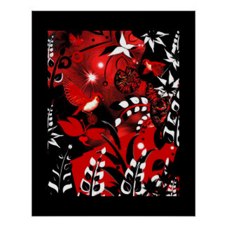 Art Poster Asian Floral Red Birds