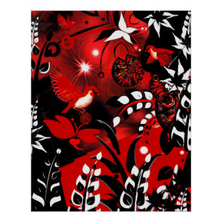 Art Poster Asian Floral Red Birds 2