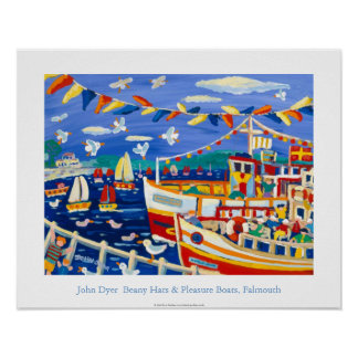 Art Poster: Beany Hats & Pleasure Boats, Falmouth