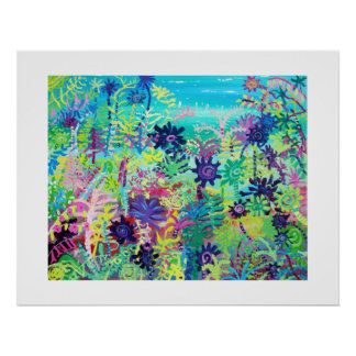 Art Poster: Big Garden Day. Aeoniums and plants Poster